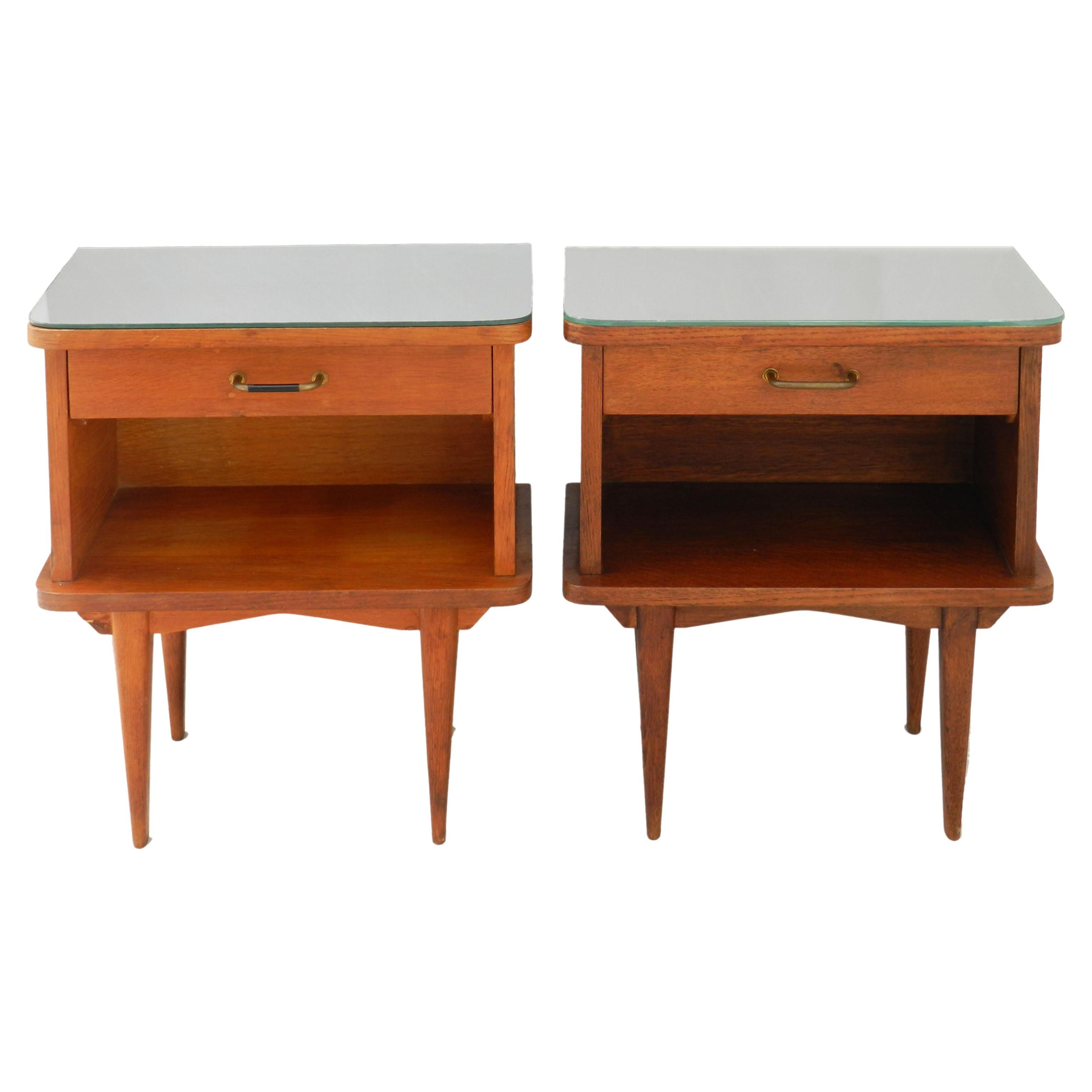 Mid Century Pair Nightstands Side Cabinets French Bedside Tables Mirror Tops