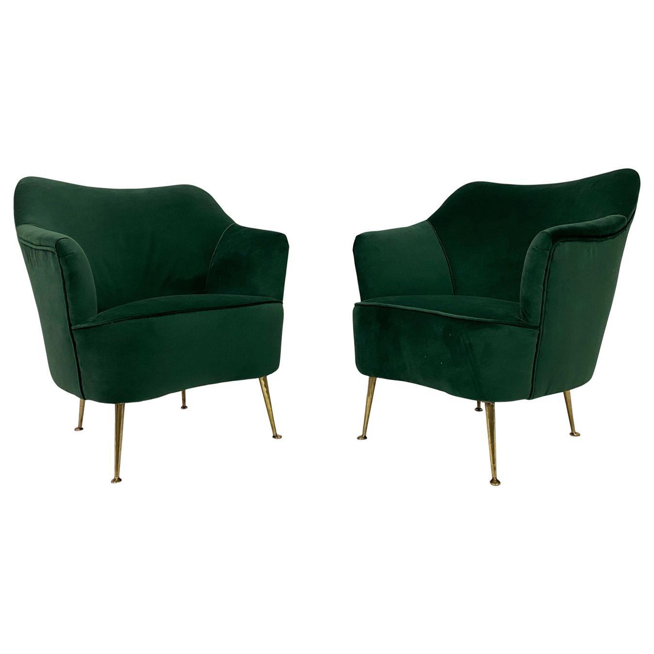 Midcentury Pair of 1950s Italian Armchairs in Green Velvet