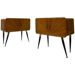 Midcentury Pair of 1950s Italian Sunburst Bedside Tables