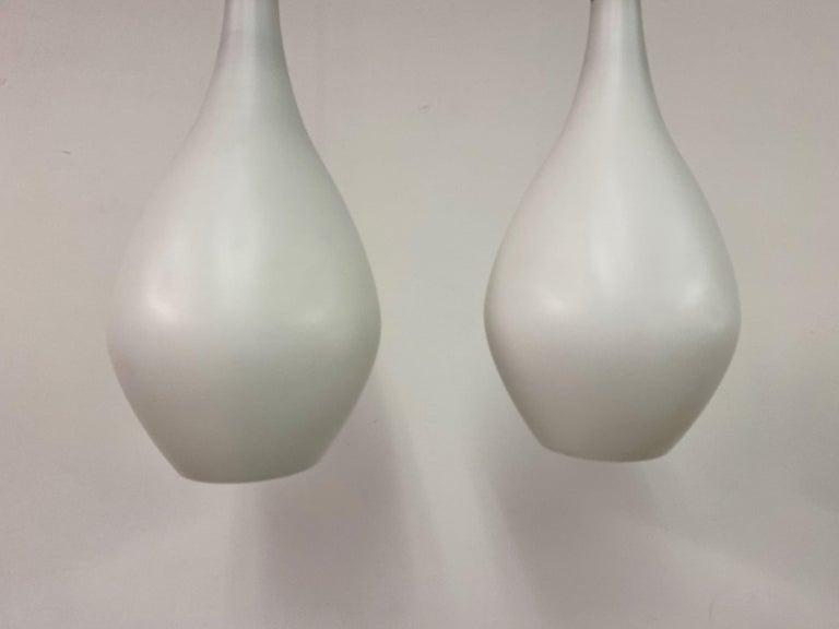 Midcentury Pair of 1960s Danish Opaline Glass Pendants For Sale 3