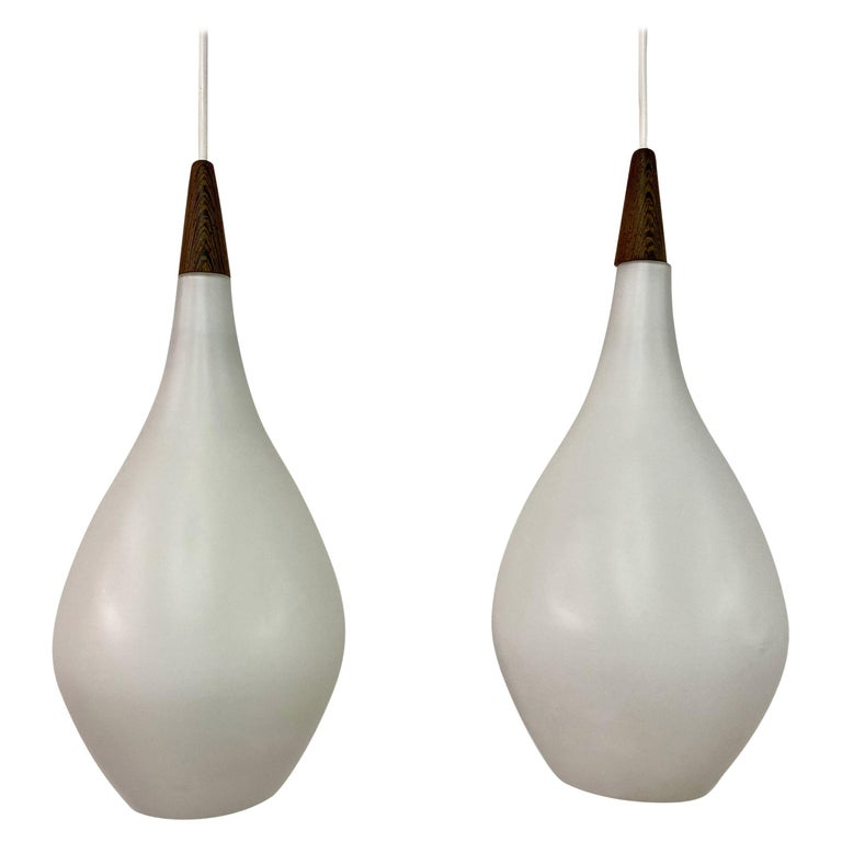 Midcentury Pair of 1960s Danish Opaline Glass Pendants For Sale