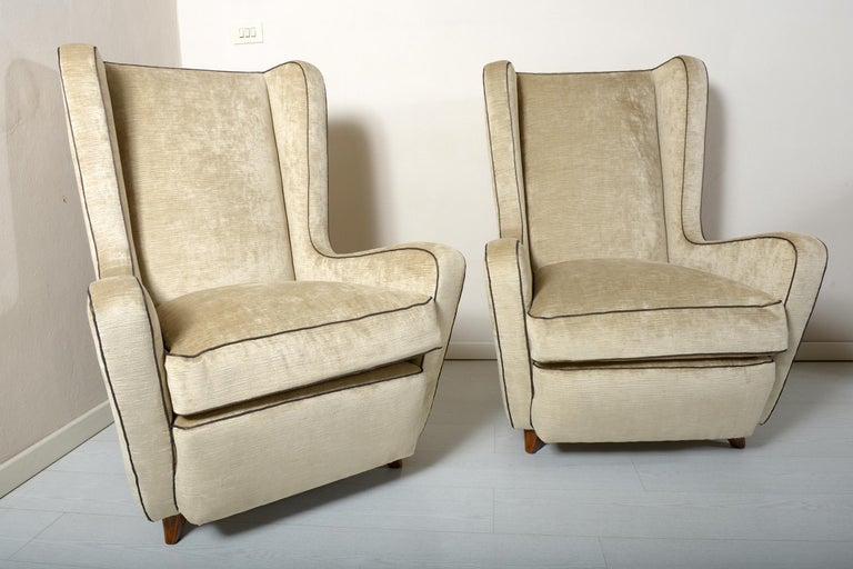 Mid-Century Modern Midcentury Pair of Armchairs by Arch, Gamberini Florence For Sale