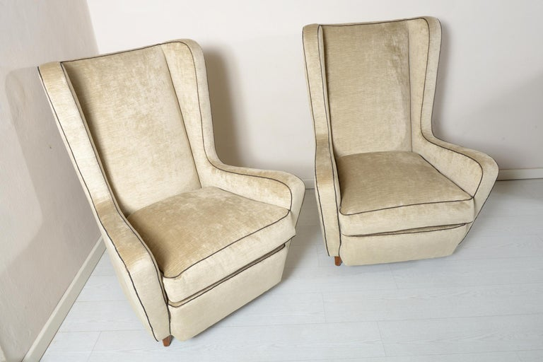 Italian Midcentury Pair of Armchairs by Arch, Gamberini Florence For Sale