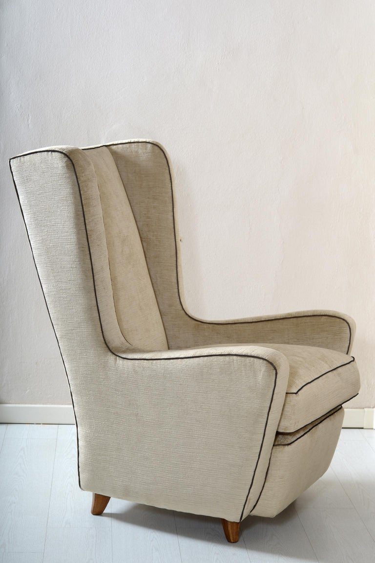Midcentury Pair of Armchairs by Arch, Gamberini Florence In Distressed Condition For Sale In Firenze, IT