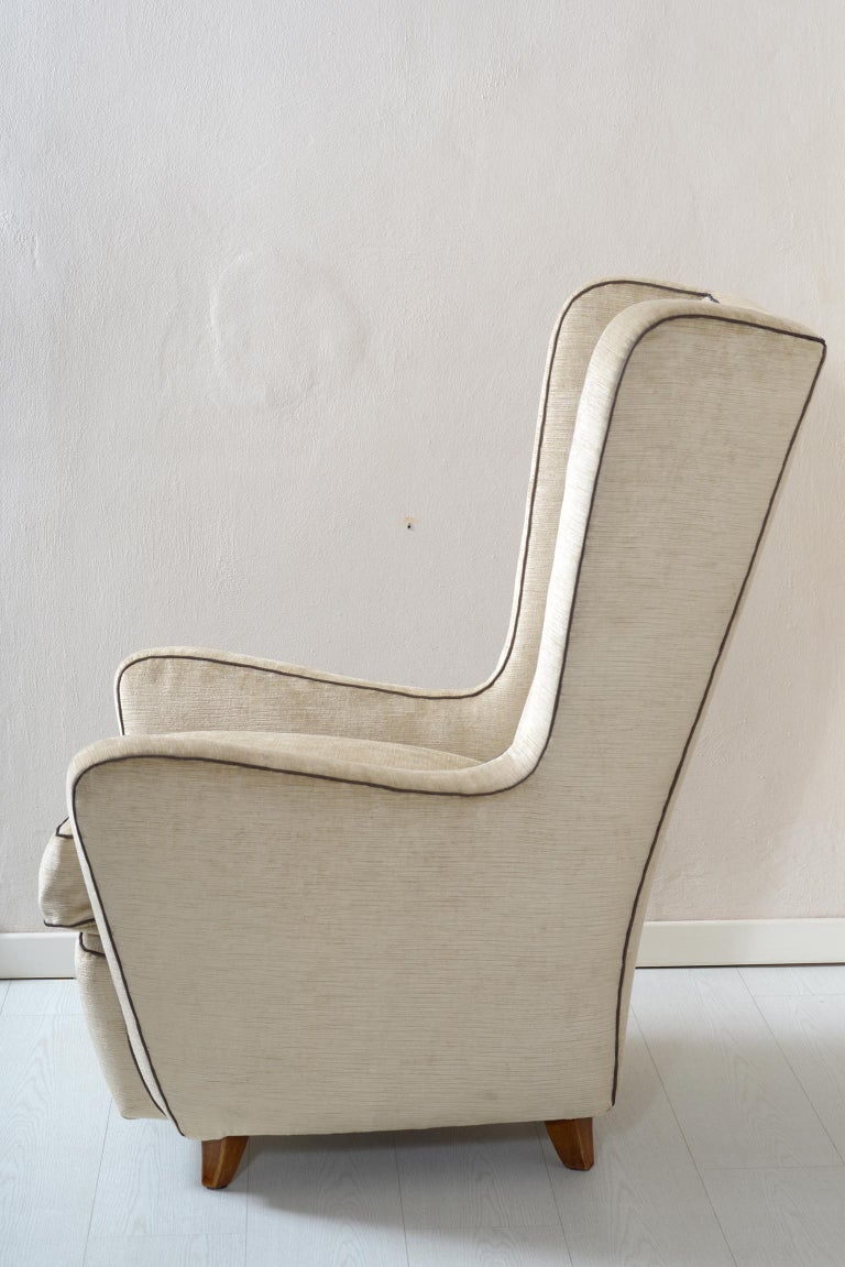 Velvet Midcentury Pair of Armchairs by Arch, Gamberini Florence For Sale
