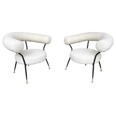 Mid Century Pair of Armchairs in Bouclé Fabric by IPA Bologne, Italy, 1950s