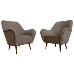 Midcentury Pair of Armchairs Perfect Original Condition Beige Jute