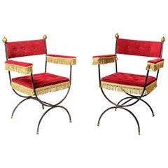 Midcentury Pair of Armchairs Red Color Classical Seating