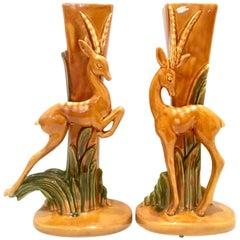 Mid-20th Century pair of Art Deco ceramic glaze Gazelle vases by Royal Haeger. E