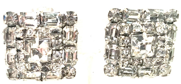 Mid-Century Pair Of Art Deco Silver & Austrian Crystal Rhinestone Earrings In Good Condition For Sale In West Palm Beach, FL