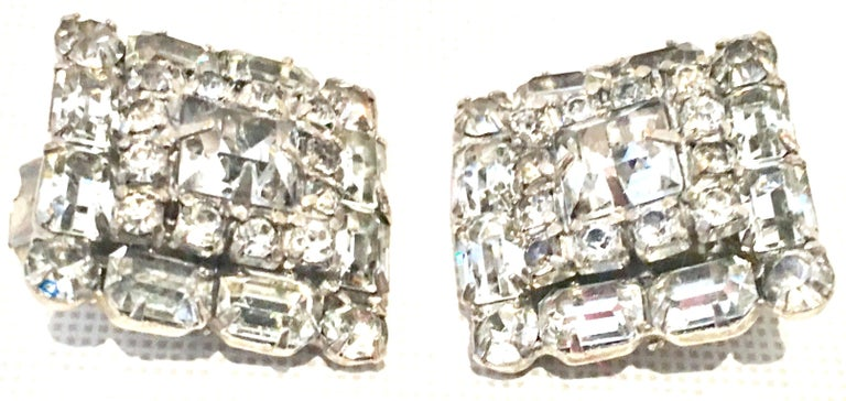 Women's or Men's Mid-Century Pair Of Art Deco Silver & Austrian Crystal Rhinestone Earrings For Sale