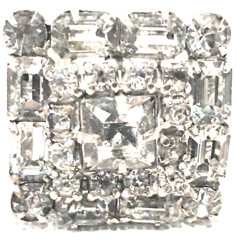 Mid-Century Pair Of Art Deco Silver & Austrian Crystal Rhinestone Earrings For Sale 1