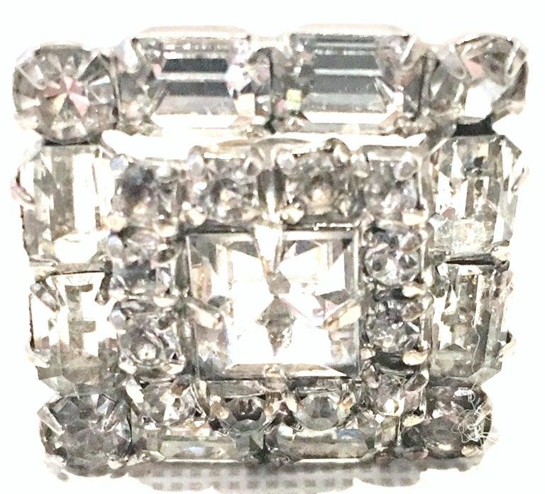 Mid-Century Pair Of Art Deco Silver & Austrian Crystal Rhinestone Earrings For Sale 2