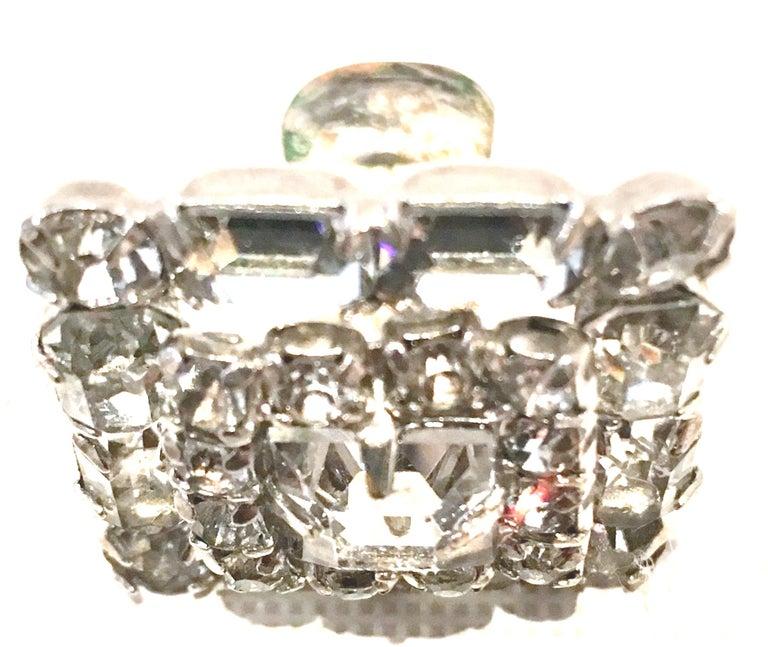 Mid-Century Pair Of Art Deco Silver & Austrian Crystal Rhinestone Earrings For Sale 3