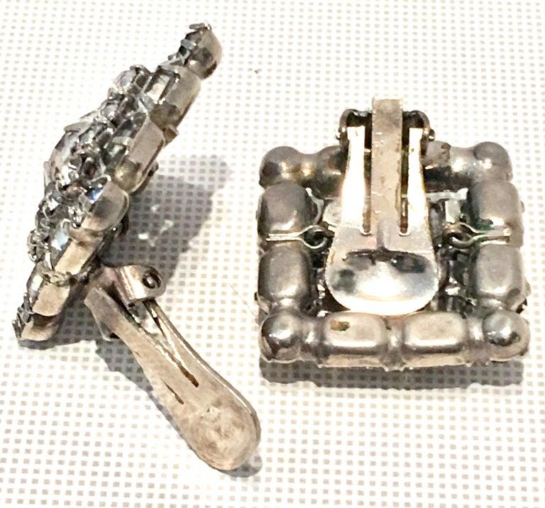 Mid-Century Pair Of Art Deco Silver & Austrian Crystal Rhinestone Earrings For Sale 4