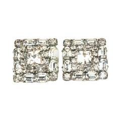 Mid-Century Pair Of Art Deco Silver & Austrian Crystal Rhinestone Earrings