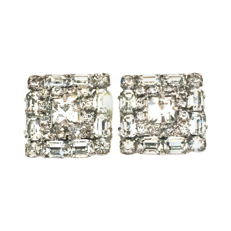 Mid-Century Pair Of Art Deco Silver & Austrian Crystal Rhinestone Earrings For Sale
