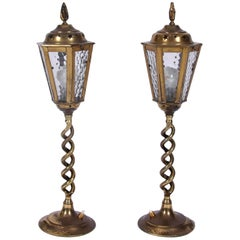 Midcentury Pair of Brass and Glass Table Lanterns with Star Detail