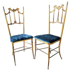 Midcentury Pair of Brass Italian Chiavari Chairs, Italy, 1950s