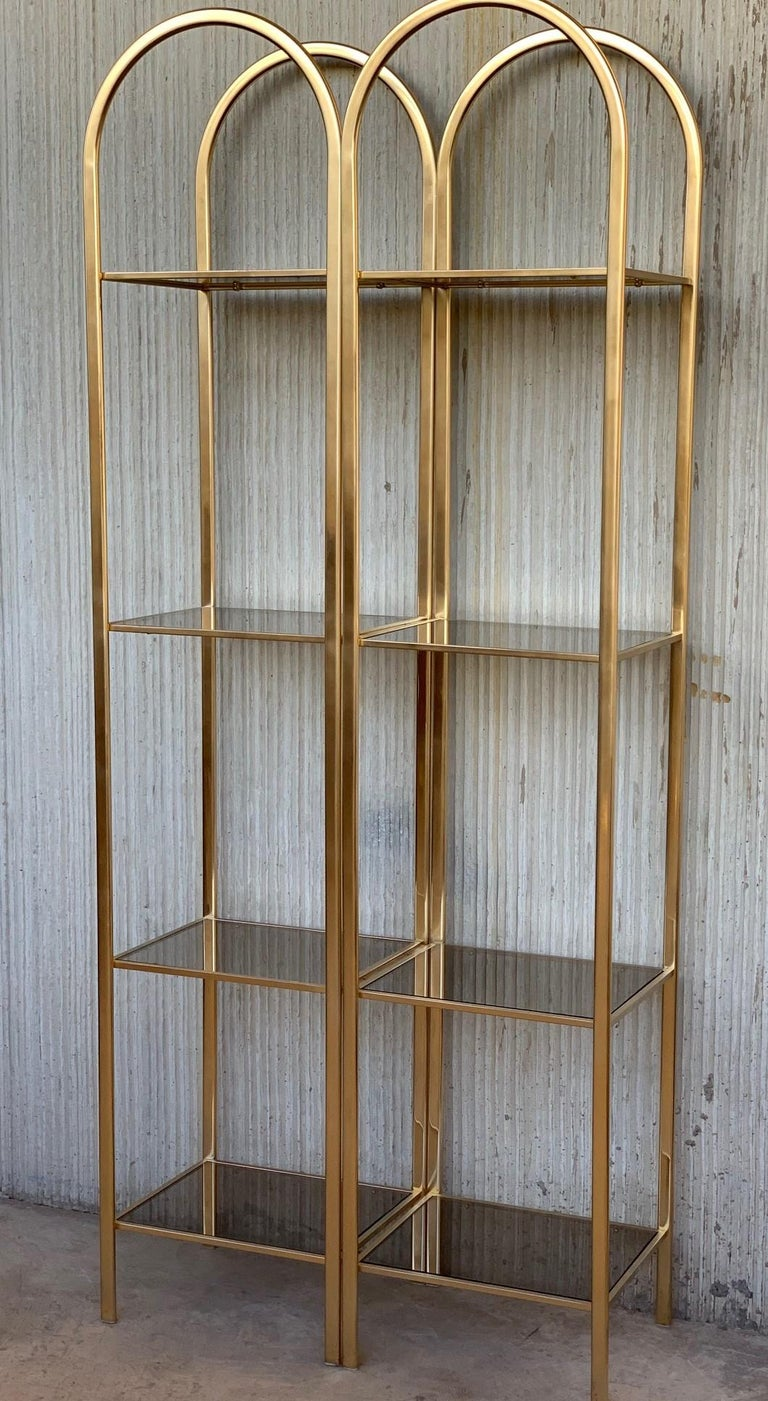 Midcentury pair of brass shelves o étagères with smoked glass You can remove one metal joint and it disassembled in two shelves.