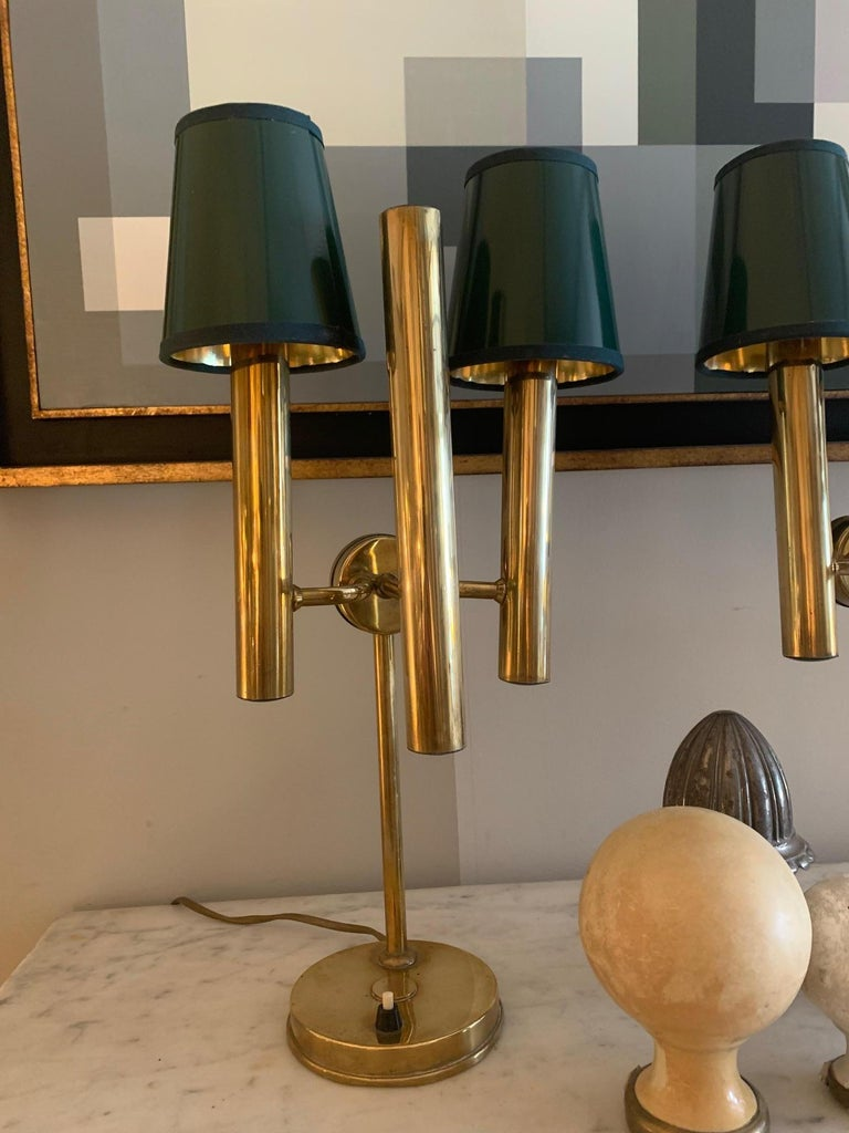 Midcentury Pair of Brass Table Lamps Gaetano Sciolari Style In Good Condition For Sale In Madrid, ES