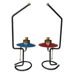 Mid Century Pair of Candle Holders Lacquered Metal and Brass. Italy, 1950s