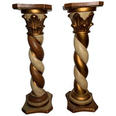 Midcentury Pair of Carved Wood Pedestals with Decorative Faux Painting
