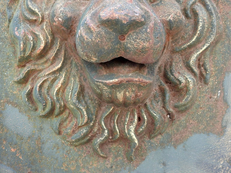 Midcentury Pair of Cast Iron Lions Head Planters For Sale 5