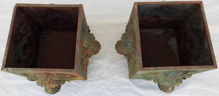 Midcentury Pair of Cast Iron Lions Head Planters For Sale 6