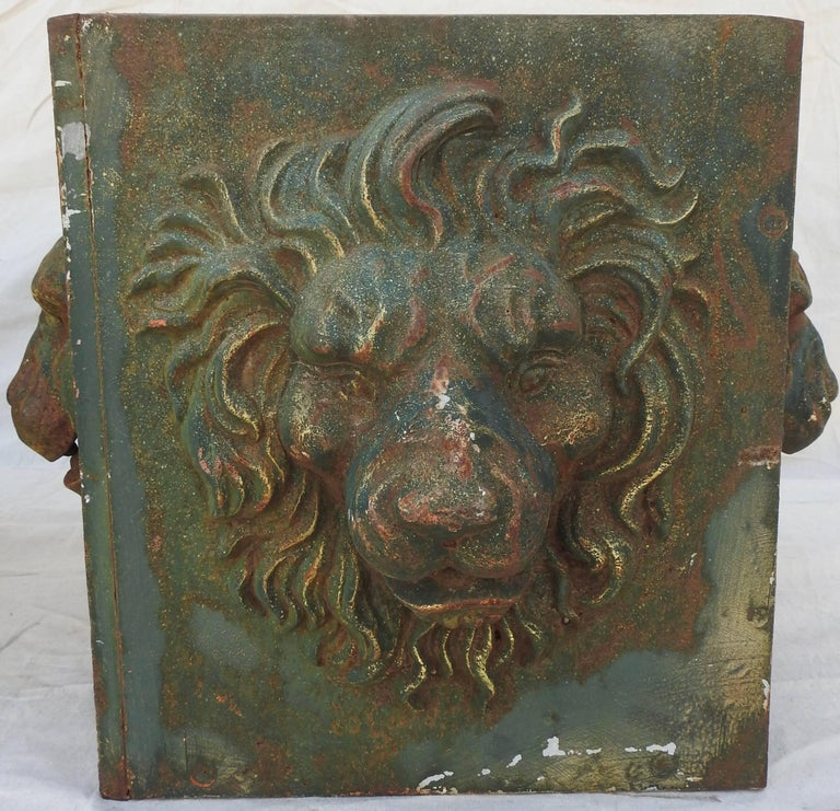 Midcentury Pair of Cast Iron Lions Head Planters For Sale 9
