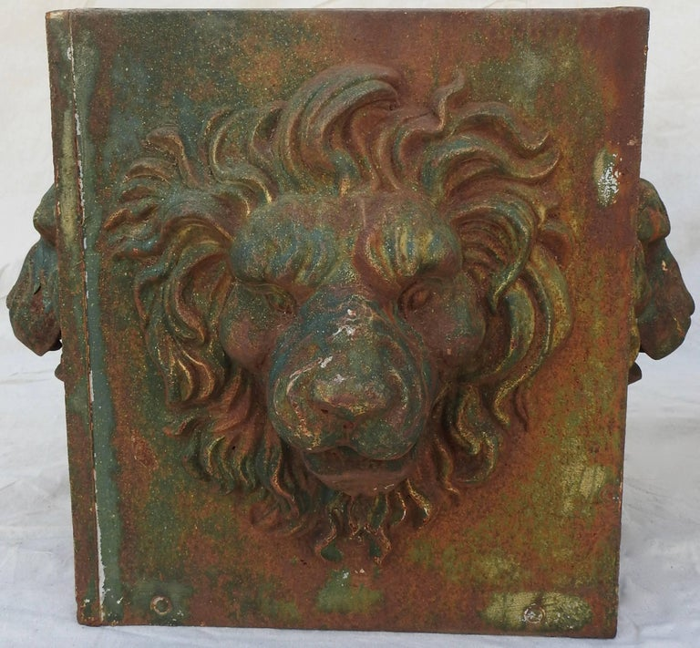 Midcentury Pair of Cast Iron Lions Head Planters For Sale 10