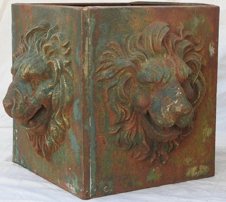 French Midcentury Pair of Cast Iron Lions Head Planters For Sale