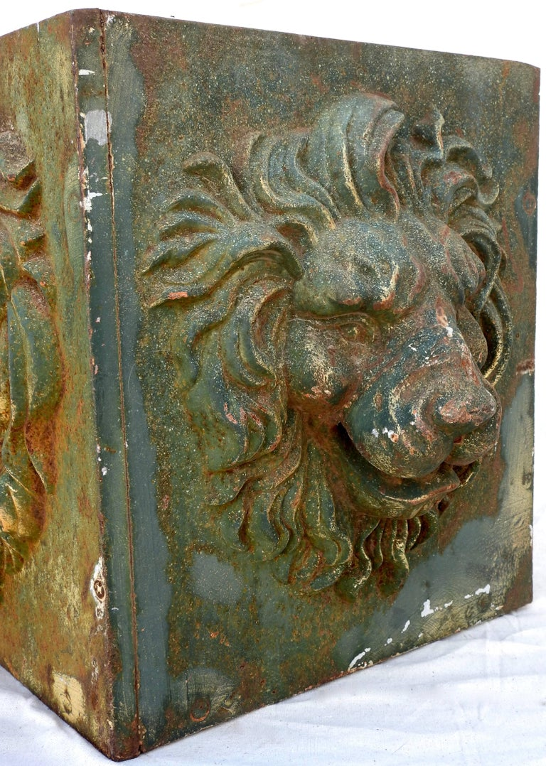 20th Century Midcentury Pair of Cast Iron Lions Head Planters For Sale