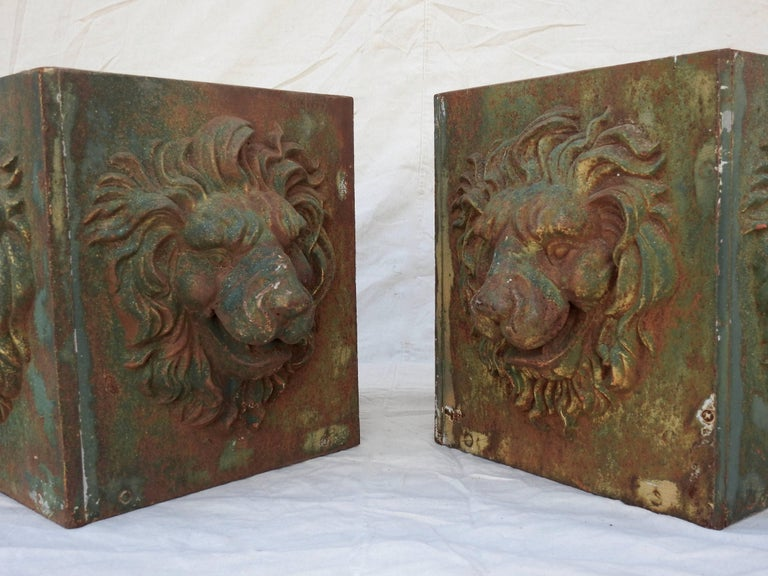 Midcentury Pair of Cast Iron Lions Head Planters For Sale 1