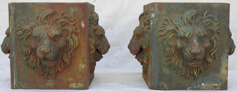 Midcentury Pair of Cast Iron Lions Head Planters For Sale 3