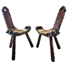 Midcentury Pair of Chairs Stools Minimal Rustic Primitive Style Perriand