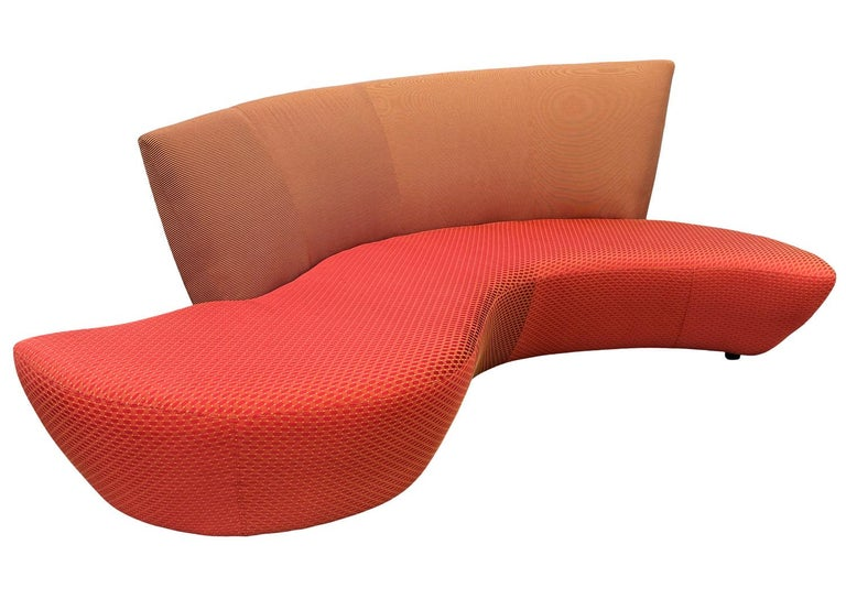 Midcentury Pair of Curved Serpentine Bilboa Sofas by Vladimir Kagan for Preview For Sale 3