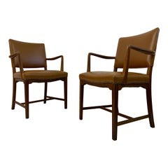 Mid Century Pair of Danish Oak and Leather Armchairs