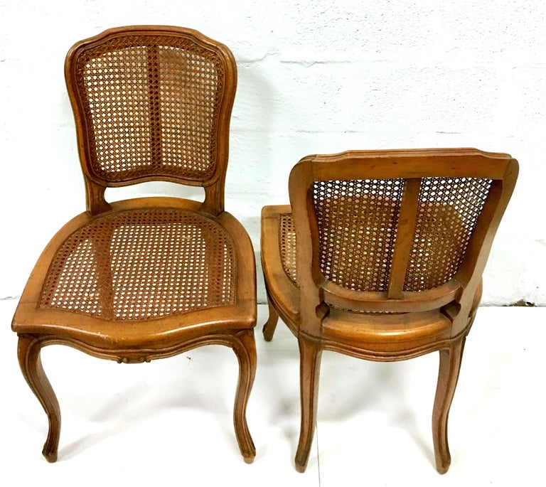 Mid Century Pair Of French Style Carved Wood And Cane Chairs Im