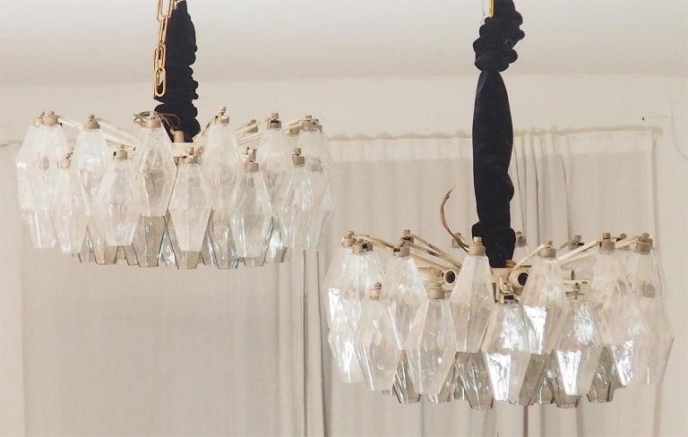 Italian Mid Century Pair of Glass Chandeliers Poliedri by Carlo Scarpa for Venini, 1960s For Sale