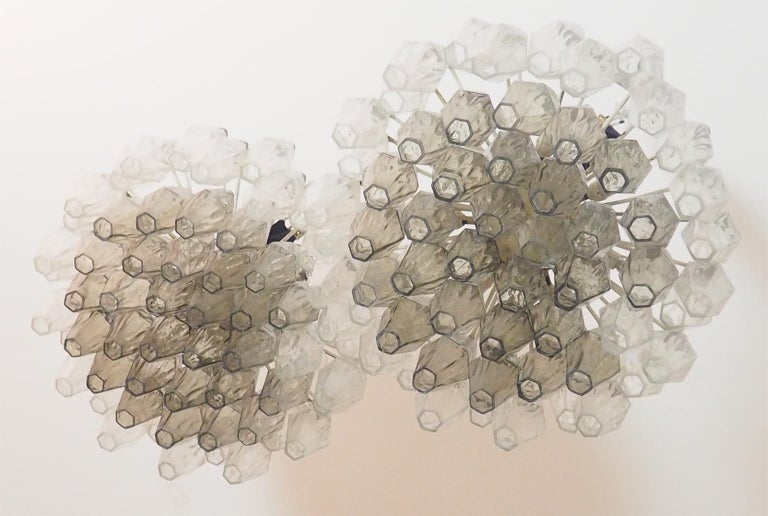 Mid Century Pair of Glass Chandeliers Poliedri by Carlo Scarpa for Venini, 1960s In Good Condition For Sale In Milano, IT