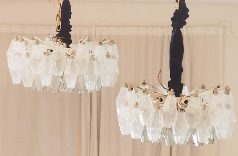 Brass Mid Century Pair of Glass Chandeliers Poliedri by Carlo Scarpa for Venini, 1960s For Sale