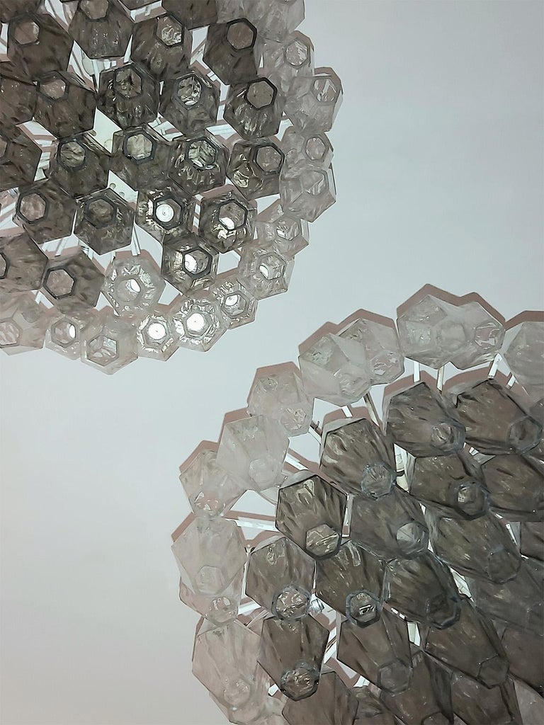 Mid Century Pair of Glass Chandeliers Poliedri by Carlo Scarpa for Venini, 1960s For Sale 1