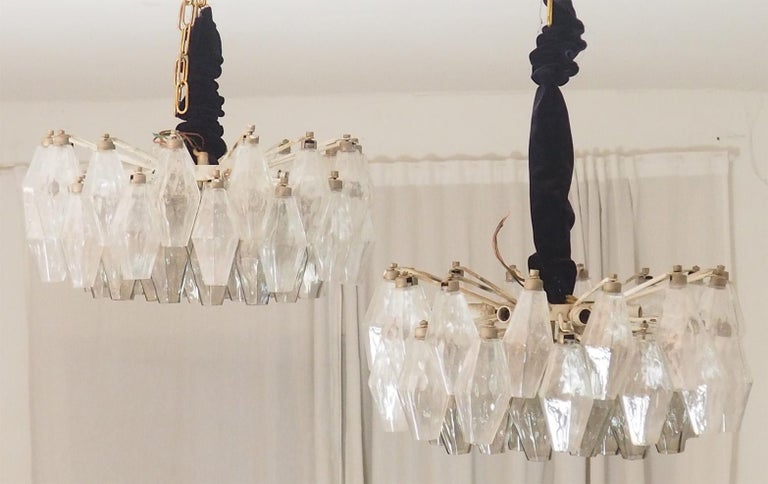 Mid Century Pair of Glass Chandeliers Poliedri by Carlo Scarpa for Venini, 1960s For Sale 2