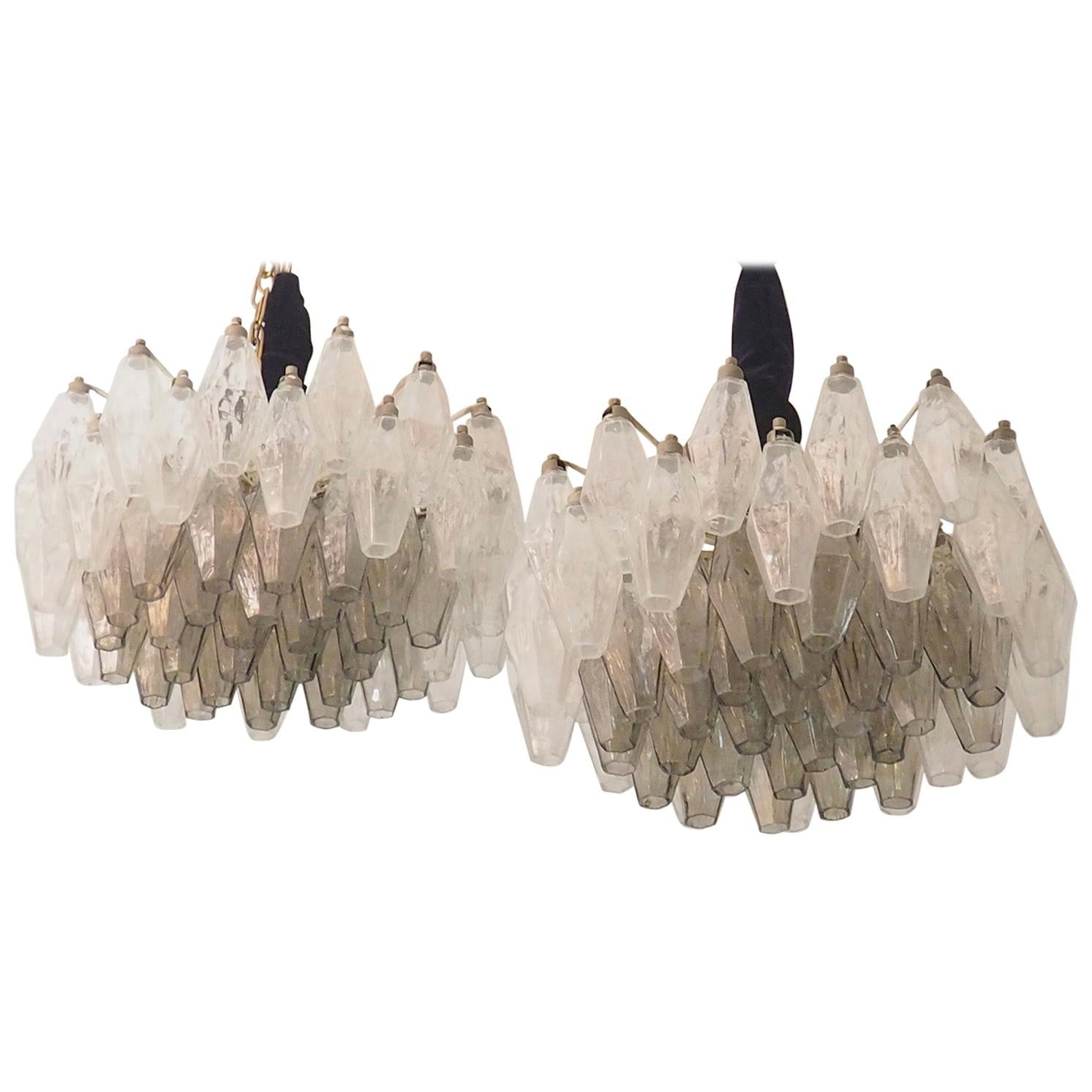 Mid Century Pair of Glass Chandeliers Poliedri by Carlo Scarpa for Venini, 1960s