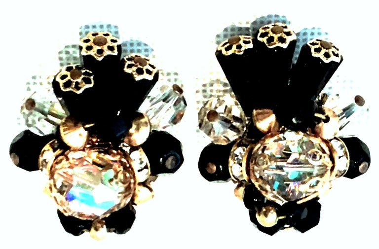 Mid-20th Century Pair Of Gold & Glass Bead Earrings By, Alice Caviness. These gold plate clip style earrings feature a