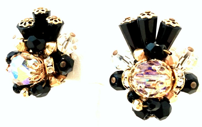 Art Deco Mid-Century Pair Of Gold & Glass Bead Dimensional Earrings By, Alice Caviness For Sale