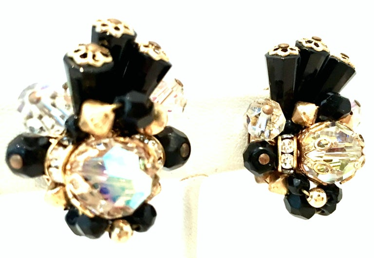 Mid-Century Pair Of Gold & Glass Bead Dimensional Earrings By, Alice Caviness In Good Condition For Sale In West Palm Beach, FL