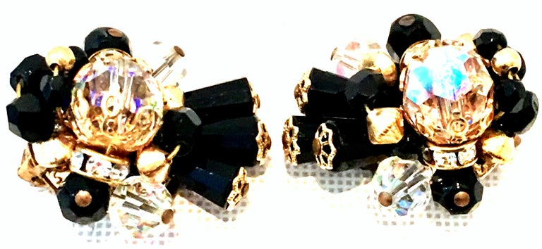 Women's or Men's Mid-Century Pair Of Gold & Glass Bead Dimensional Earrings By, Alice Caviness For Sale