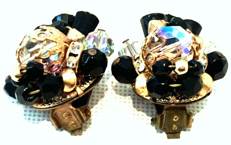 Mid-Century Pair Of Gold & Glass Bead Dimensional Earrings By, Alice Caviness For Sale 2